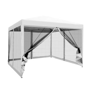 Instahut 3x3m Pop Up Gazebo Wedding Marquee Mesh Side Walls Outdoor Canopy White