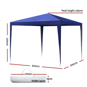 Instahut 3x3m Wedding Gazebo Tent Party Event Marquee Shade Blue Without Panel
