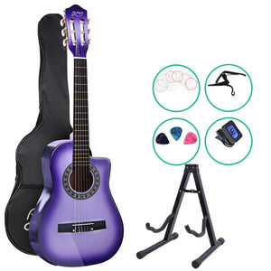 "Alpha 34"" Inch Guitar Classical Acoustic Cutaway Wooden Ideal Kids Gift Children 1/2 Size Purple with Capo Tuner"