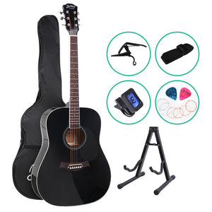 ALPHA 41 Inch Wooden Acoustic Guitar with Accessories set Black