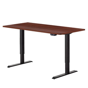 Electric Motorised Height Adjustable Standing Desk - Black Frame with 140cm Walnut Top