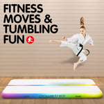 3m x 1m Air Track Tumbling Mat Gymnastics Exercise Inflatable - Rainbow