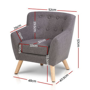 Kids Fabric Accent Armchair - Grey