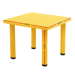 Kids Children Painting Activity Study Plastic Desk Yellow Table 60x60cm