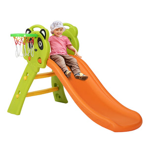 Outdoor Kids Slide Basketball Play Set Orange