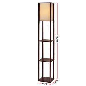 Artiss Floor Lamp Vintage Reding Light Stand Wood Shelf Storage Organizer Home