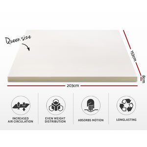 Giselle Bedding Memory Foam Mattress Topper w/Cover 8cm - Queen