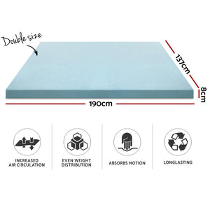 Giselle Bedding Cool Gel Memory Foam Mattress Topper w/Bamboo Cover 8cm - Double