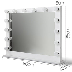 Make Up Mirror Frame with LED Lights 65x80cm White - Online Discounts