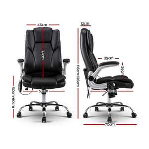 PU Leather 8-point Massage Office Chair Black - Online Discounts