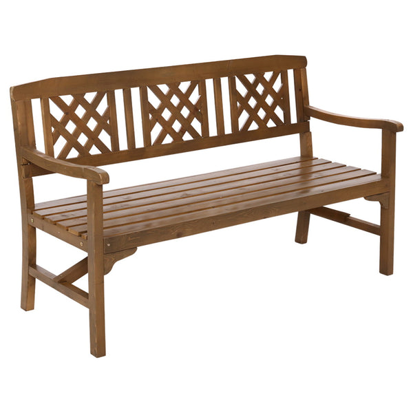 Wooden Garden Bench 3 Seat Patio Furniture Timber Outdoor Lounge Chair Natural