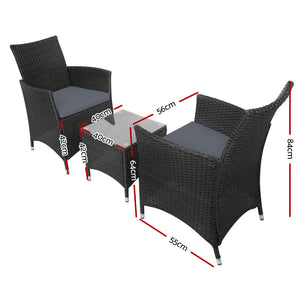 3-piece Outdoor Chair and Table Set Black - Online Discounts