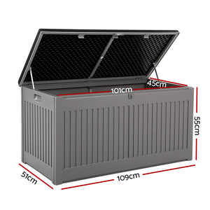 Gardeon Outdoor Storage Box Container Garden Toy Indoor Tool Chest Sheds 270L Dark Grey