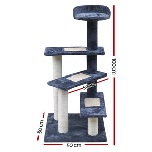 i.Pet Cat Tree 100cm Trees Scratching Post Scratcher Tower Condo House Furniture Wood Steps