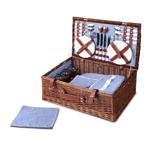 Alfresco 4 Person Picnic Basket Baskets Handle Outdoor Insulated Blanket