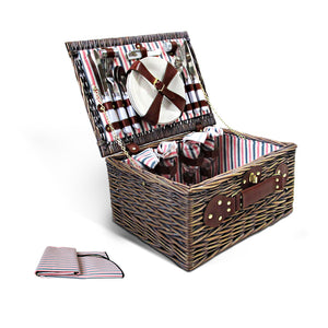 Alfresco 4 Person Picnic Basket Baskets Deluxe Outdoor Corporate Gift Blanket