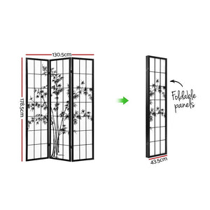 3 Panel Room Divider Screen Privacy Dividers Pine Wood Stand Shoji Bamboo Black White