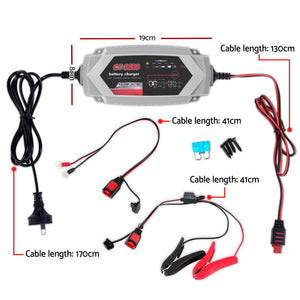 Smart Battery Charger 3.5A 12V 6V Automatic SLA AGM Car Truck Boat Motorcycle Caravan