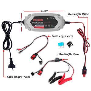 Smart Battery Charger 7A 12V 24V Automatic SLA AGM Car Truck Boat Motorcycle Caravan