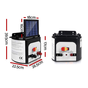 8km Solar Power Electric Fence Charger Energiser 0.3J White