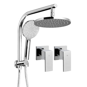 WELS Round 9 inch Rain Shower Head and Taps Set Handheld Spray Bracket Rail Chrome