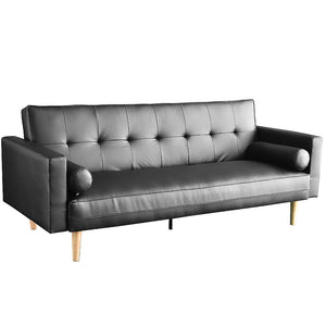 Madison 3 Seater Faux Leather Sofa Bed Couch with Pillows - Black