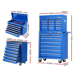 Giantz Tool Chest and Trolley Box Cabinet 16 Drawers Cart Garage Storage Blue
