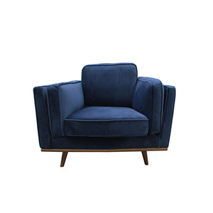 1 Seater Fabric Cushion Modern Sofa Blue Colour