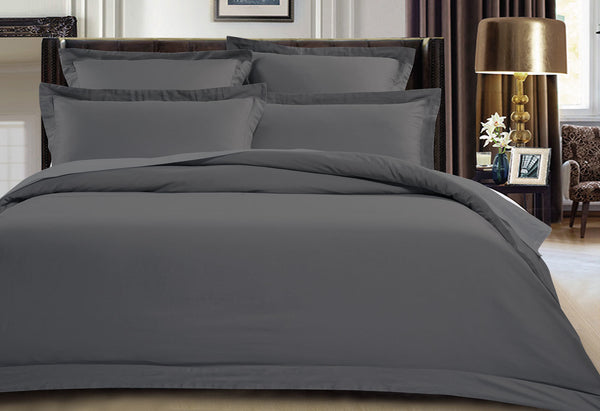 King Size 500TC Cotton Sateen Quilt Cover Set (Charcoal Color)