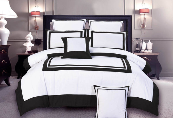 Queen Size Modern White Black Rectangle Pattern Quilt Cover Set (3PCS)