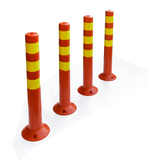 4x Plastic Traffic Bollard Barrier Post Crowd Control Safety