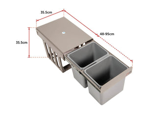 Set of 2 15L Pull Out Trash Bin Dual Kitchen Garbage Bin