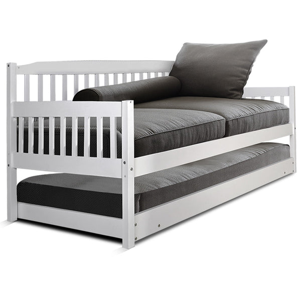 Single Wooden Trundle Bed Frame Timber Kids Adults