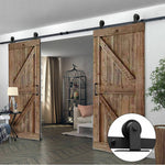 2.44M Antique Classic Style Double Sliding Barn Door Hardware Track Roller Kit