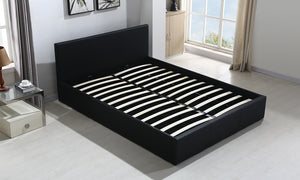 Bed Frame Gas Lift Premium Leather Base Mattress Storage Double Black