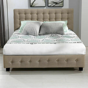 Bed Frame Base With Gas Lift Queen Size Platform Fabric