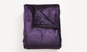 320GSM 220x160cm Ultra Soft Mink Blanket Warm Throw in Aubergine Colour