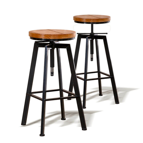 Industrial Bar Stools Kitchen Stool Wooden Barstools Swivel Chair Vintage