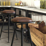 4x Rustic Industrial Bar Stool Kitchen Stool Barstool Swivel Dining Chair