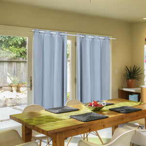 2x Blockout Curtains Panels 3 Layers with Gauze Room Darkening 140x244cm Aqua