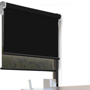 Modern Day/Night Double Roller Blinds Commercial Quality 150x210cm Black Black