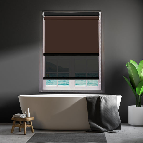 Modern Day/Night Double Roller Blinds Commercial Quality 240x210cm Coffee Black
