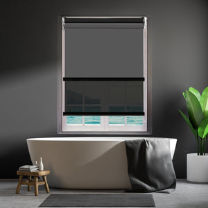 Modern Day/Night Double Roller Blinds Commercial Quality 60x210cm Charcoal Black