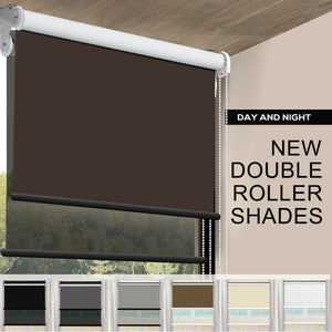 Modern Day/Night Double Roller Blinds Commercial Quality 120x210cm Coffee Black