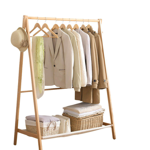 Clothes Stand Garment Dyring Rack Hanger Organiser Wooden Rail Portable