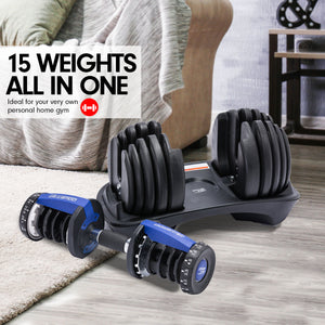 48kg Powertrain Adjustable Dumbbell Home Gym Set Blue
