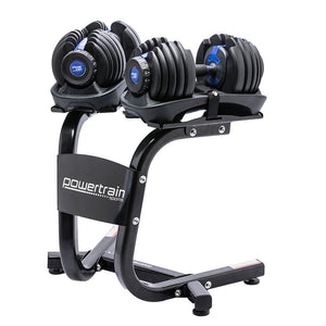 48KG Powertrain Adjustable Dumbbell Set With Stand Blue