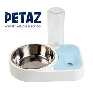 Dog Cat Food Bowl and Automatic Water Dispenser BLUE