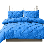 Diamond Pintuck Duvet Cover and Pillow Case Set in UK Size in Navy Colour