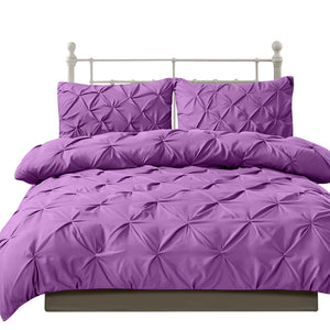 Diamond Pintuck Duvet Cover and Pillow Case Set in UK Size in Plum Colour